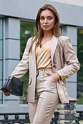 Женский брючный костюм цвет кофе лён классический повседневный молодёжный элегантный офисный