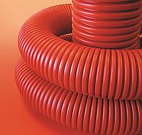 Труба гнучка двостінна 110/94 мм, з протяжкою червона 750Н ПВД (бухта 50м), ДКС