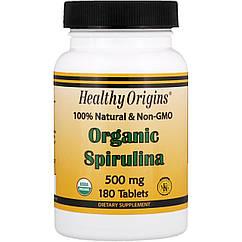 Спирулина Healthy Origins Organic Spirulina 500 mg (30 таб) хелси ориджинс