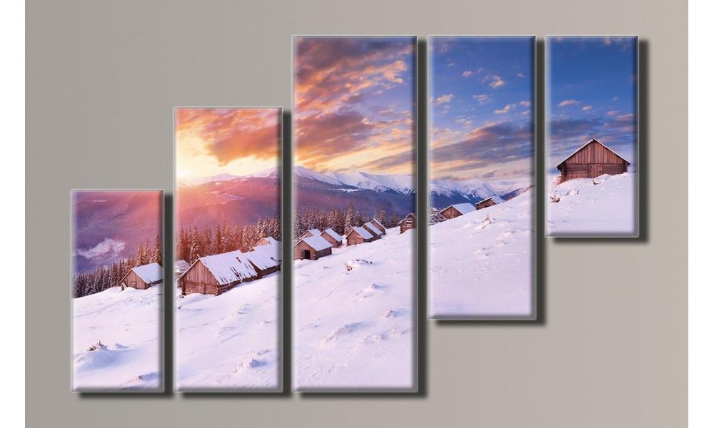 Модульная картина Зимний пейзаж 68х108 см (HAB-011)