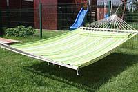 Гамак, тканевый, прочьный, двухместный, двухспальный, с планками, 200х150см, качественный, прочный, надежный
