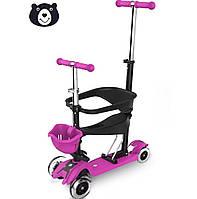 Самокат для малышей 5 в 1, Беговел Scooter - Самокат с ограничителем и сиденьем - Розовый