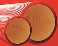 Гофра Труба двостінна жорстка (посилена), (6 кПа), Ø нар./вн., мм 200/172, колір червоний, з протяжкою, 6м