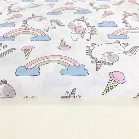 """Польская хлопковая ткань """"единороги с радугами на белом"""", фото 2"""