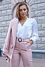 Женский брючный костюм розовый лён классический повседневный молодёжный элегантный офисный, фото 2