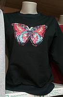 Свитшот с пайетками Бабочка 44-50, фото 1