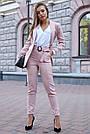 Женский брючный костюм розовый лён классический повседневный молодёжный элегантный офисный, фото 3