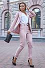 Женский брючный костюм розовый лён классический повседневный молодёжный элегантный офисный, фото 4