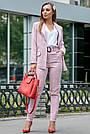 Женский брючный костюм розовый лён классический повседневный молодёжный элегантный офисный, фото 5