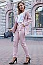Женский брючный костюм розовый лён классический повседневный молодёжный элегантный офисный, фото 6