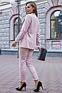 Женский брючный костюм розовый лён классический повседневный молодёжный элегантный офисный, фото 7