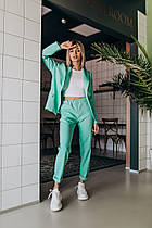 Классический летний костюм (брюки и пиджак, цвет - мята, ткань - габардин) Размер S, M, L (розница и опт)