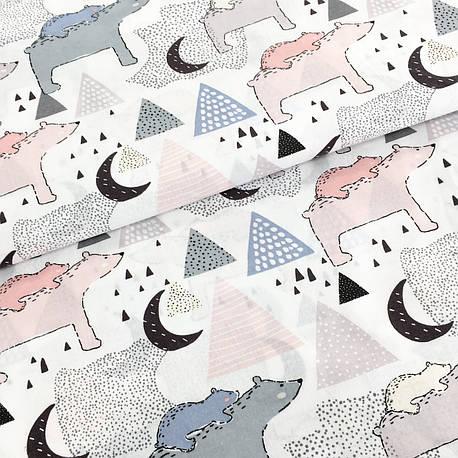 """Польская хлопковая ткань """"мишки серо-розовые с треугольниками на белом"""", фото 2"""
