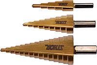 Сверла конические ступенчатые по металлу HSS 4241 Ø= 4-32 мм 3 шт STHOR 22616