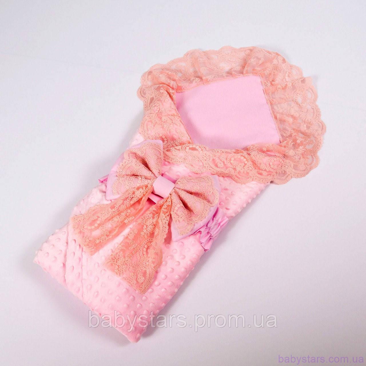 Летний конверт одеяло для новорожденных с кружевом + плед балеринки с розовым плюшем 78х85см