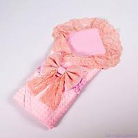 Летний конверт одеяло для новорожденных с кружевом + плед балеринки с розовым плюшем 78х85см, фото 1