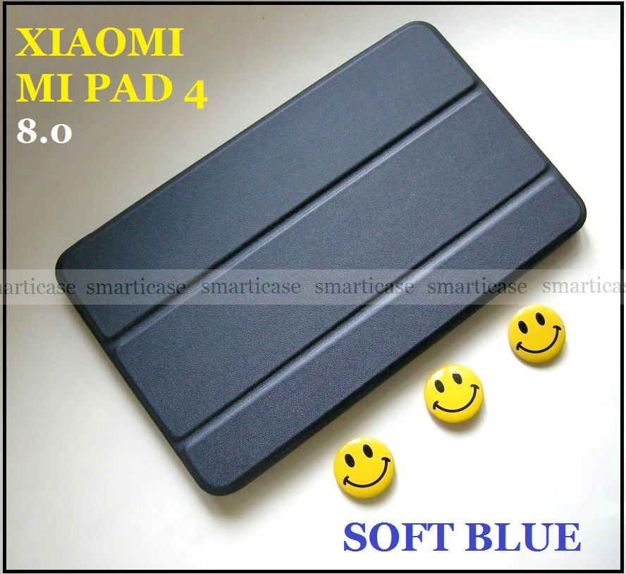 Синий смарт чехол книжка Xiaomi Mi pad 4 8.0 c силиконом Soft Blue