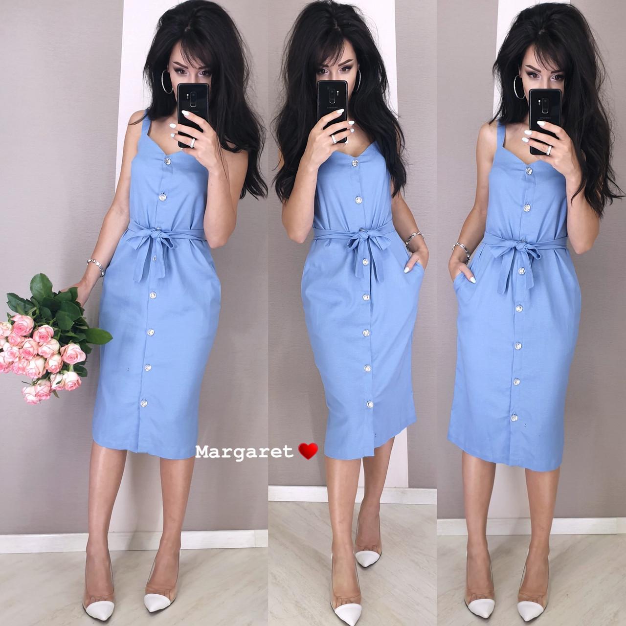 Льняное платье - рубашка по фигуре с пуговицами по всей длине и на бретелях 9py3229