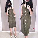Льняное платье - рубашка по фигуре с пуговицами по всей длине и на бретелях 9py3229, фото 2