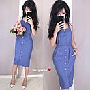 Льняное платье - рубашка по фигуре с пуговицами по всей длине и на бретелях 9py3229, фото 3