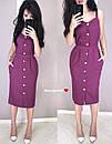 Льняное платье - рубашка по фигуре с пуговицами по всей длине и на бретелях 9py3229, фото 4