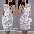Льняное платье - футляр выше колена на бретелях с пуговицами спереди 9py3231, фото 4