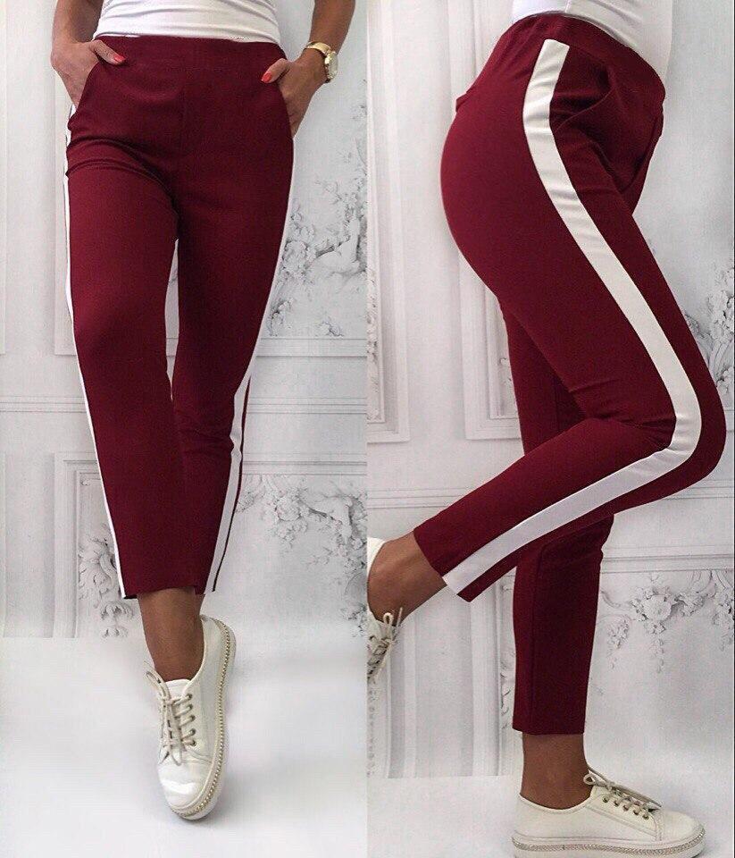 Стильные женские штаны. Спортивные женские штаны с лампасами цвет бордо.