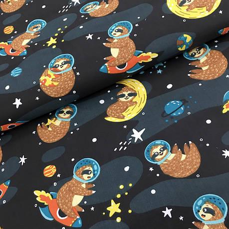 """Польская хлопковая ткань """"ленивцы в космосе"""", фото 2"""