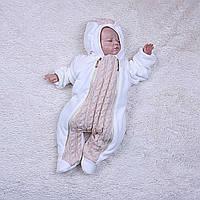 Комбинезон Weave велюровый на травке для новорожденных 0-12 мес (карамель)