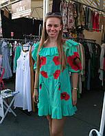 """Сукня жіноча """"Маки"""", батист, м'ятний колір, фото 1"""
