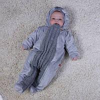 Комбинезон Weave велюровый на травке для новорожденных 0-12 мес (серый)