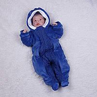 Комбинезон Weave велюровый на травке для новорожденных 0-12 мес (синий)