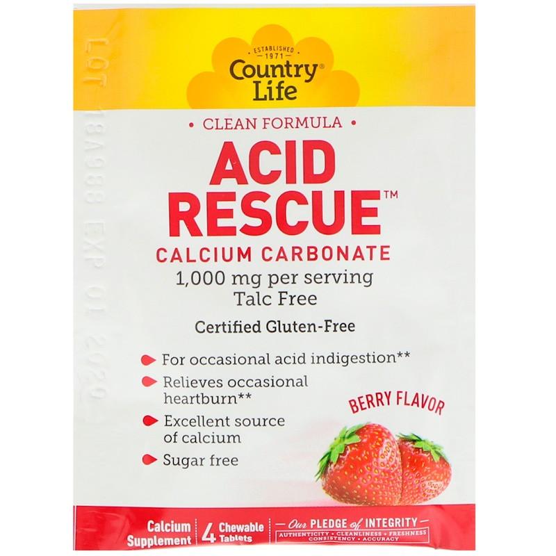 """Карбонат кальция Country Life, Acid Rescue """"Calcium Carbonate"""" ягодный вкус, 1000 мг (20 пакетиков по 4 табл)"""