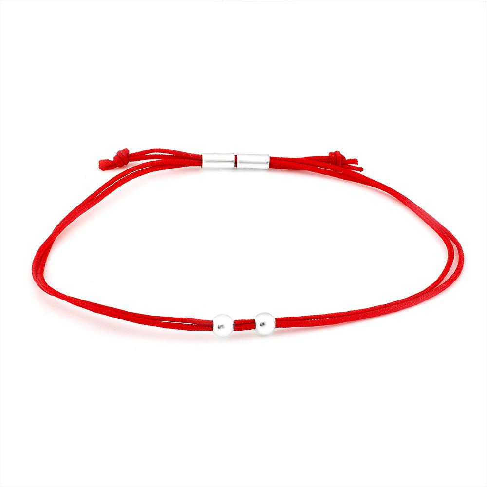 Браслет из шелковой красной нити с регулируемой застежкой Юрьев арт.487