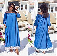 Платье длинное джинсовое свободного фасона, с 48-60 размер, фото 1