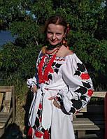 """Сукня вишита """"Калина"""" міні,  білий колір, льон"""