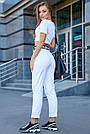 Белая укороченная футболка со стразами женская, фото 5