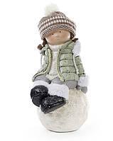 Новогодняя фигура Девочка на снежке 45 см, цвет: мятный