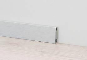 Дизайнерский плинтус для пола алюминий анодированный Profilpas Metal Line I Design, сатинированный Н-60мм, Платина