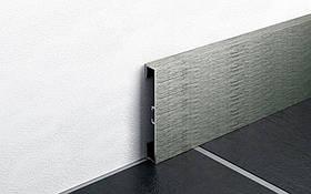 Дизайнерский плинтус для пола алюминий анодированный Profilpas Metal Line I Design, сатинированный Н-60мм, Титан