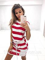 Летнее платье мини в широкую полоску с короткими рукавами, карманами и поясом красный
