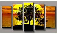 Модульная картина Дерево на закате-4 55х100,5 см (HAB-143)