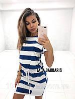 Летнее платье мини в широкую полоску с короткими рукавами, карманами и поясом синий