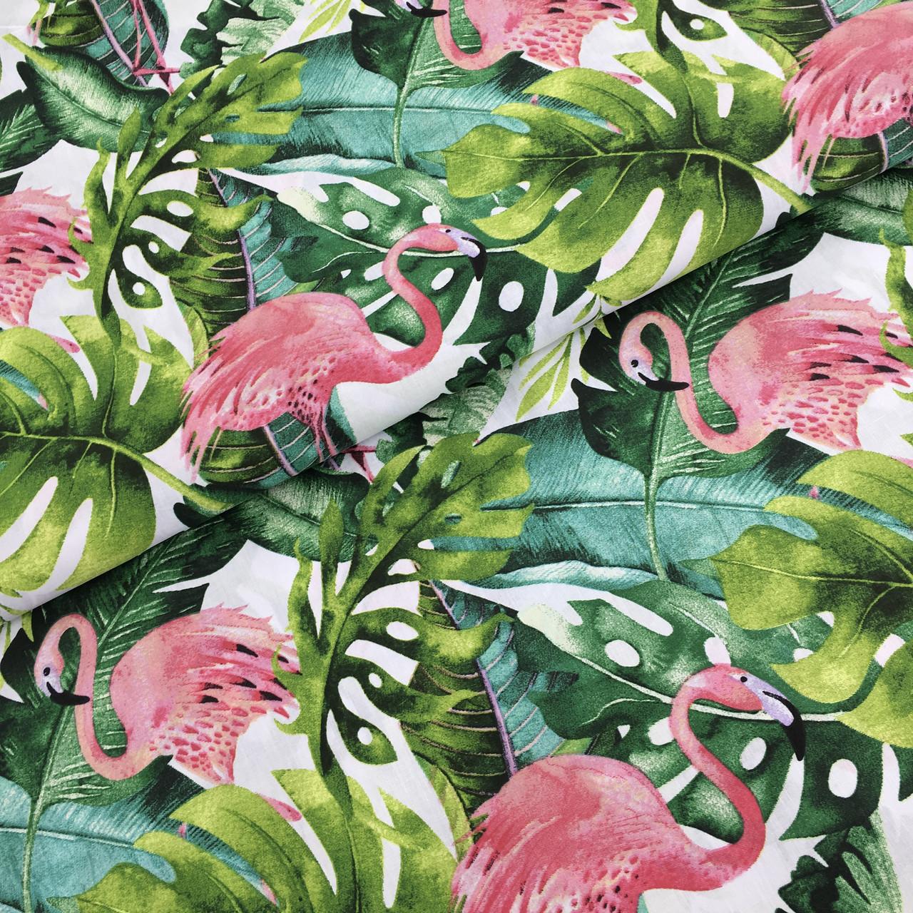 """Польская хлопковая ткань """"фламинго с листьями монстеры"""""""