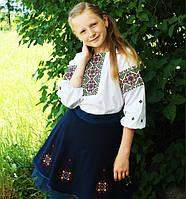 Стильный комплект с вышиванкой блузой и юбкой , фото 1