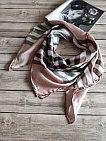 Шелковый платок в стиле Burberry нежно-розовый