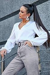 Белая блузка шёлковая женская повседневная молодёжная нарядная офисная