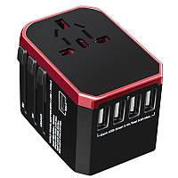Переходник сетевой XOKO WC-050 на Eu, 4xUSB, 1xUSB TYPE-C, 5,6A Black/Red
