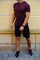 Мужской летний комплект  -чёрные шорты и футболка цвета на выбор   S, M, L, XL, XXL