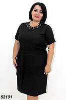 Летнее легкое платье с рукавом и жемчугом.черное 54